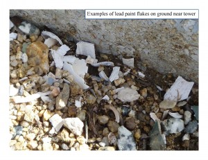 Examples of lead paint flakes at and around the North Chalone Fire Lookout Tower.   Picture from National Park Service
